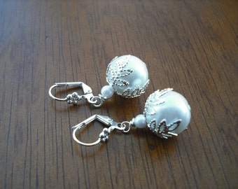 glass pearl with silver earrings