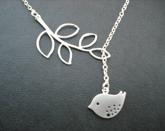 Ready to Ship -  Sterling Silver Chain - sweet little mod bird lariat