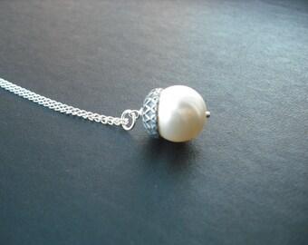 Sterling Silver Chain - creamrose pearl acorn necklace - swarovski crystal pearl