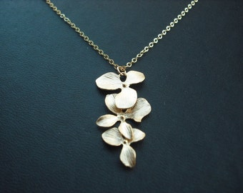 14k Gold Filled chain - triple orchid flowers necklace