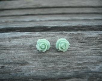mint green rose post earring