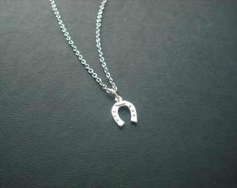 Sterling Silver Chain - tiny horse shoe necklace