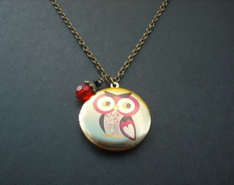 whimsical owl locket with antique brass chain necklace
