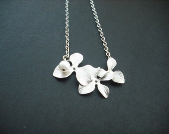 Sterling Silver Chain - orchid flowers necklace