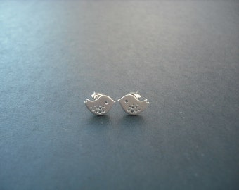 mini love birds post earrings - matte white gold plated and sterling silver
