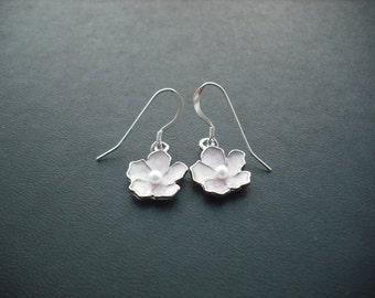 light pink flower earrings - sterling silver ear wires