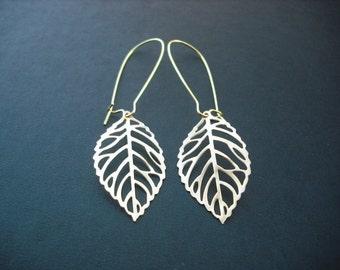 matte gold skeleton leaf earrings - 16K gold plated