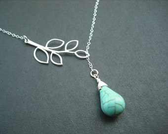 Sterling Silver Chain - five leaf branch and turquoise briolette lariat
