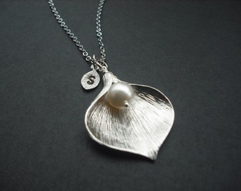 Sterling Silver chain - personalized initial Calla Lilly necklace