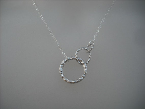 Sterling Silver Chain - three ring pendant necklace