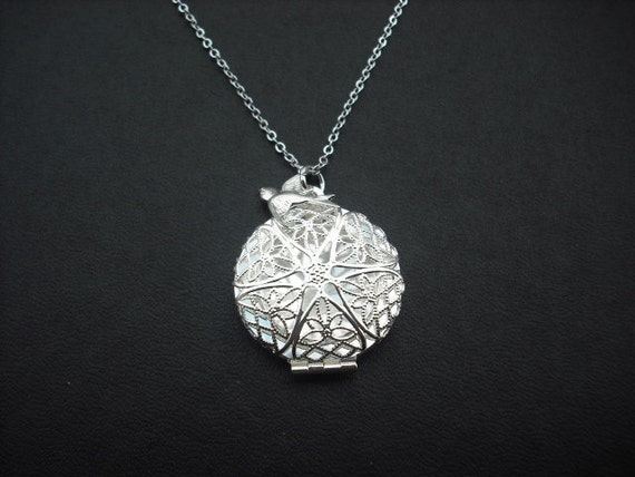 Sterling Silver chain - Victorian Style Filigree Locket Charm necklace