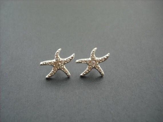 Rhinestone Crystal Starfish Earrings, Studs