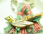 Clip Earrings Pink and Green Bird Beaded Tassels