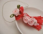 Pink Ribbon Roses on Beaded Tassel Wedding Ornament Gift Decoration Favor
