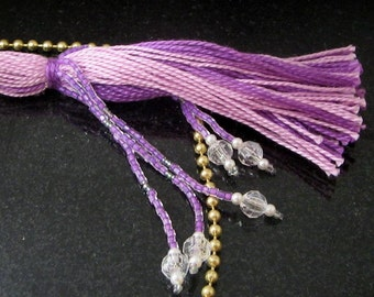 Purple Beaded Tassel Fan Pull