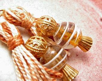 Caramel and Gold Beaded Tassel Earrings