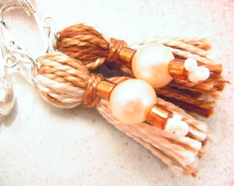 Clip Earrings Beaded Tassels with Pink Pearl and Brown