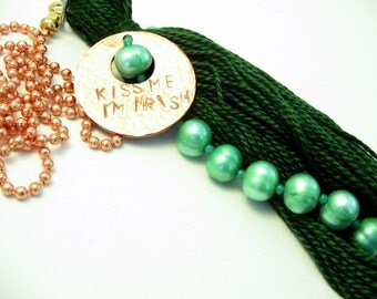 Kiss Me I'm Irish Green Pearl Beaded Light Pull Fan Pull Tassel