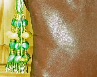 Green and Yellow Beaded Purse Tassel or Charm with Citrus Drops
