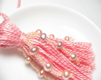 Pink Pearl Beaded Wedding Tassel