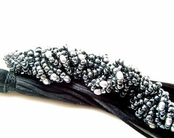 Black Wedding Beaded Purse Tassel with Gunmetal Pearls
