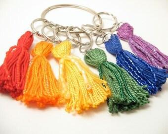 Bright Rainbow Beaded Tassel Keychain Set