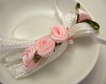 Pink Ribbon Roses on White Beaded Tassel Spring Easter Wedding Bling Ornament Gift Decoration Favor