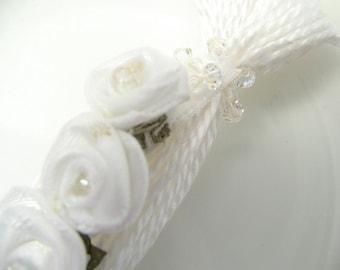 White Ribbon Rose Beaded Tassel Wedding Decoration Favor Bling