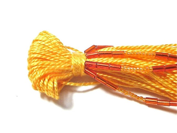 Orange Beaded Tassel