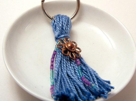 Blue Beaded Tassel Keyring with Copper Flower