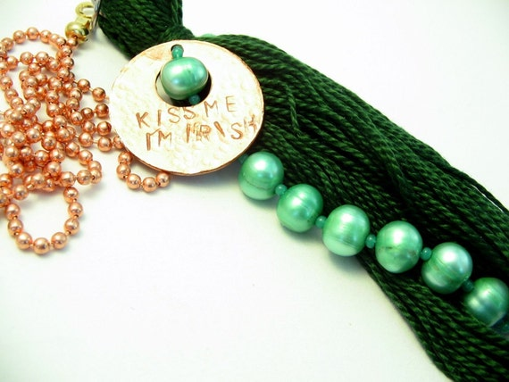 Kiss Me I'm Irish Green Pearl Beaded Tassel Fan Pull