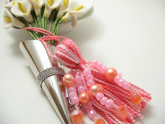 Pink Beaded Tassel Wedding Bling or Valentine's Day Ornament