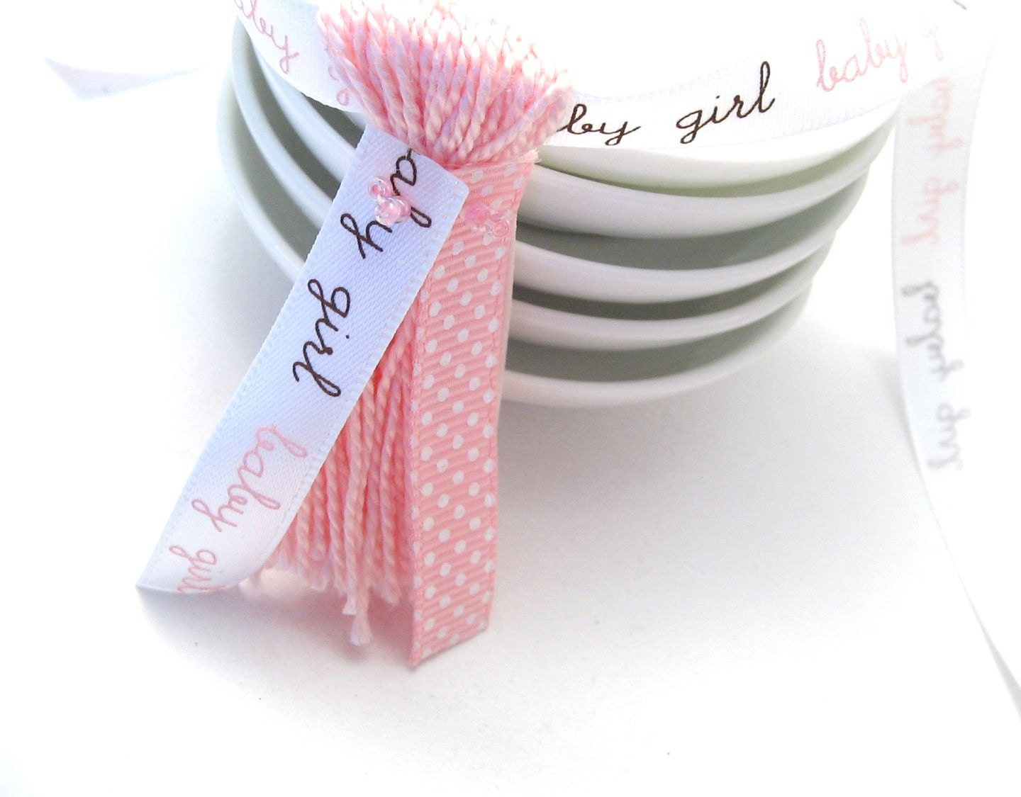 Party Pack: 5 Tassels baby girl and Pink Ribbons Pink Baby Shower ...