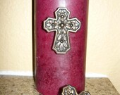 SET of 2 Cross Candle Accent Pins Old World / Tuscan Decor Crosses for Candles