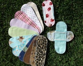 10 Flannel Cloth Menstrual Pads Pantyliners w / 2 Detached Wings - LONG