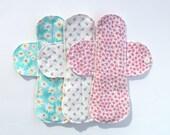 "Set of 6 Medium Flow Reusable Cloth Menstrual Pads 8.5"""