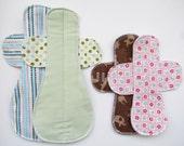 Cloth Menstrual Pads SAMPLER Set 2ct - 1 Overnite Maxi Pad & 1 Meium Flow Pad