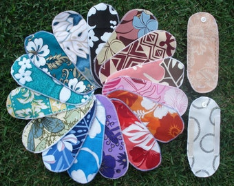 Mystery Pack Set of 10 Aloha Print Cloth Menstrual Pantyliner w/ 2 detacheable wings - Short