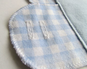 Set of 3 Cloth Mentrual Pantyliners with Attached Wings - Blue Gingham