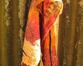 Orange Nuno felted scarf