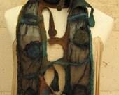 Blue brown Delicate nuno scarf