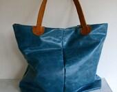 SALE blue jean leather tote bag, handmade italian leather bag super soft leather