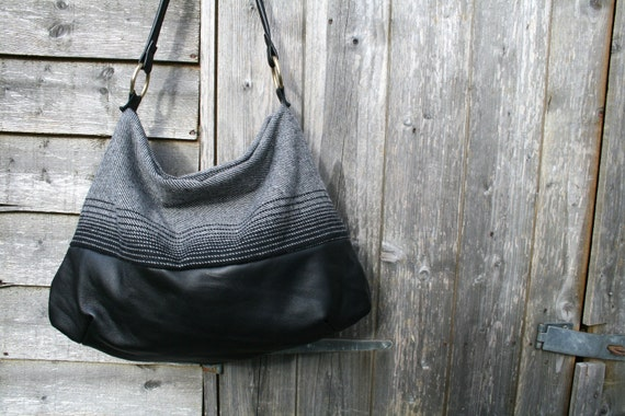 Black leather bag, black leather and wool bag READY TO SHIP