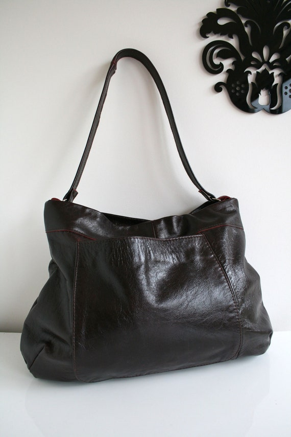 Leather bag, handmade recycled leather bag in deep red wine colour, READY TO SHIP
