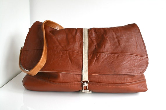 Leather bag, tan leather messenger bag, recycled cross body bag, leather laptop bag, travel bag,
