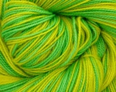 Self Striping Fingering Weight Yarn Green and Yellow Colorway Lepton (PN)