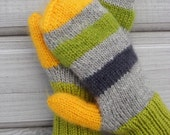 Knit mittens, women mitten gloves, green mittens,  (green, yellow, gray) Great gift for her