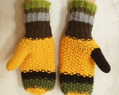 Yellow Women Mittens - Warm funky Gloves  (yellow,green, brown, gray) Holiday gift idea under 50 for her