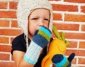 CuteToddler mittens Knit Children Rainbow gloves -MARINE RAINBOW- (blue, green,mint) Cute holiday gift idea for toddler
