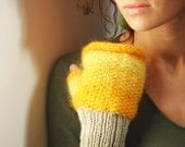 Yellow fingerless gloves, women gloves, fall, winter fashion